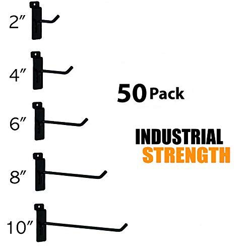 Only Hangers Commercial Grade Slatwall Hooks - Combo Pack of 50 Assorted Size Peg Hooks for Slatwall - (10) of Each 2'',4'',6'', 8'' and 10'' Hooks by Only Hangers