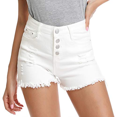 Women's Sexy Stretchy Fabric Hot Pants Distressed Denim Shorts Frayed Hem,White 6 ()