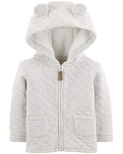 Carters Baby Zippered Hoded Quilted Jacket, 6 Months Gray