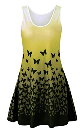 Cromoncent Fashion Sun Gradients Butterfly Yellow Dress Women's Patterned Comfort 6qw6CH1U