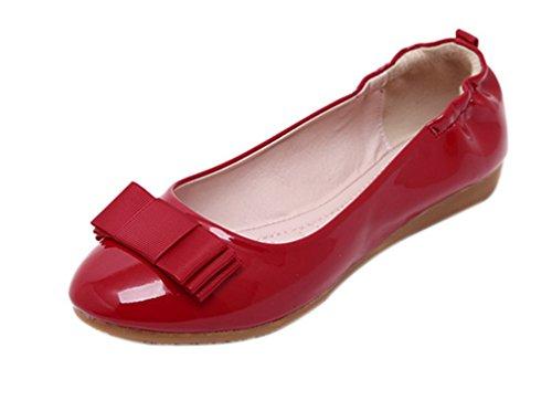 Donna Dqq Rosso Basse Rosso Scarpe Bowknot Pieghevole Balletto wIq7CIp