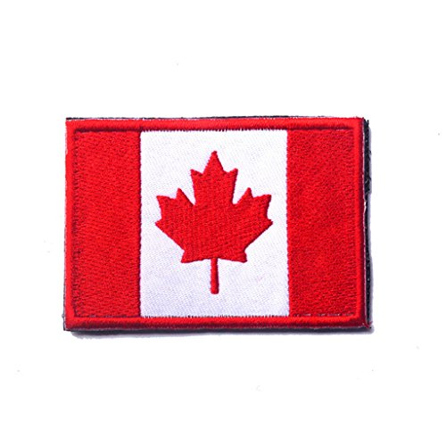 ShowPlus Canada CA Flag Military Embroidered Tactical Velcro Patch Morale Shoulder Applique