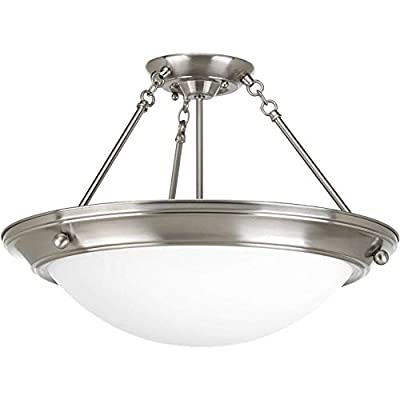 Progress Lighting P3569-09 Traditional Three Light Close-to-Ceiling from Eclipse Collection in Pwt, Nckl, B/S, Slvr. Finish, Brushed Nickel