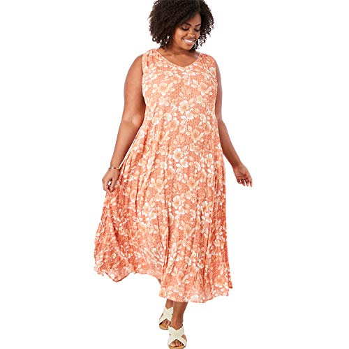 Woman Within Women's Plus Size Sleeveless Crinkle A-Line Dress - Tea Rose Graphic Floral, M