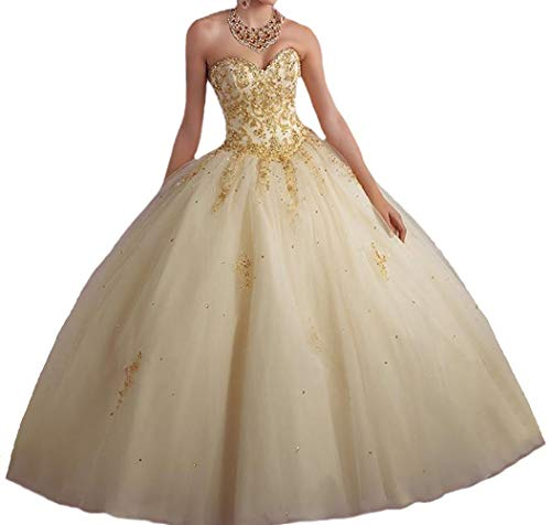 Vnaix Bridals Princess Lace with Tulle Sweet 16 Prom Quinceanera Dress(2,Gold)]()