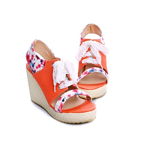 Womens B Assorted Printing Open Toe PU WeenFashion High Orange Wedge Platform with 5 Bandage US M Colors Heel Sandals d8xaaw
