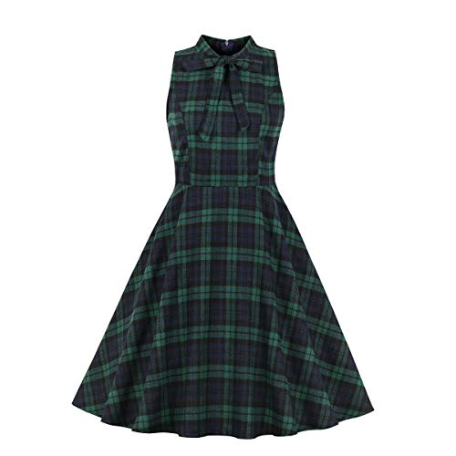 Wellwits Women's Green Check Tie Neck Summer Vintage Tea Dress with Pocket M