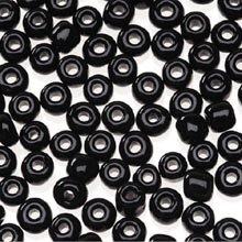 """6/0 Glass """"E"""" Beads, Black, 20 Gram Pkg"""