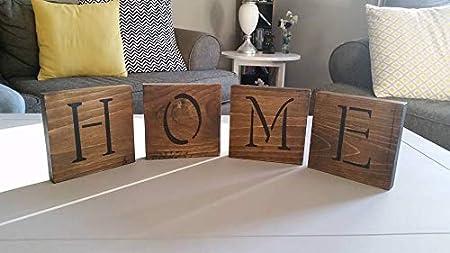 rfy9u7 Letras de madera hechas a mano, decoración rústica, decoración del hogar, decoración de mesa, Mantel Display, azulejos de Scrabble, azulejos de palabras personalizados, letrero del hogar, decoración de pared: Amazon.es: Hogar
