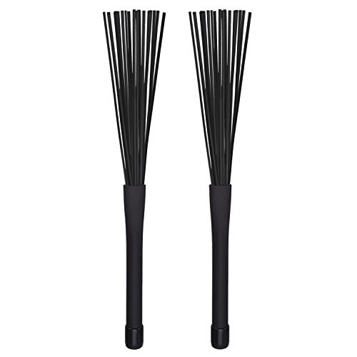 (SODIAL 1 Pair Jazz Drum Brushes Retractable Drum Sticks 32 cm)