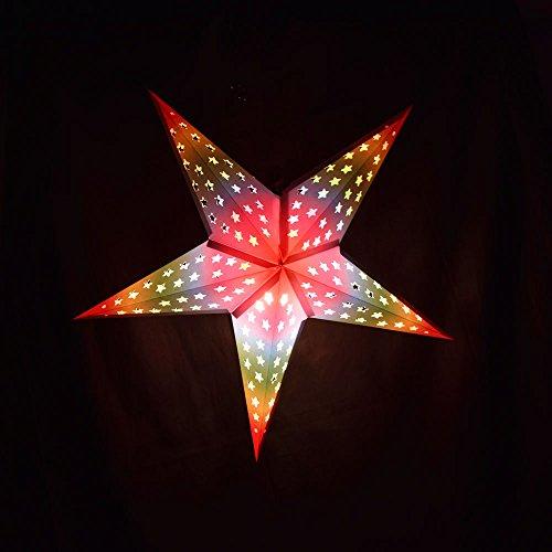 Glossy White Star w/ Inner Rainbow Star Lantern