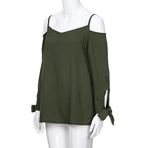 Blouse Chemisier Top Off Bringbring Shirt paule Vert Femme Manches en Longues Fluide T vtPdT