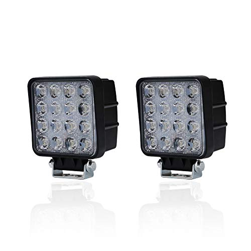 Spead-Vmall 2pcs one pack 4 inch square 48w led work light off road Flood lights truck lights 4x4 off road tractor jeep work lights fog lamp For Jeep Cabin/Boat/SUV/Truck/Car/ATV/automative/10-30V