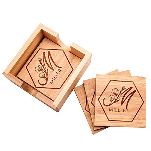 "Lily's Atelier Customized Bamboo Coasters for Drinks | 4"" x 4"" 