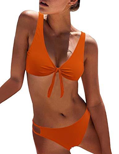 BMJL Women's Sexy Detachable Padded Cutout Push Up Striped Bikini Set Two Piece Swimsuit (Small, Orange)