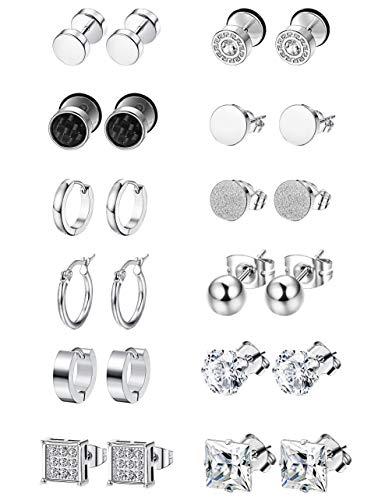 (LOYALLOOK 6-12Pairs Stainless Steel Earrings For Men CZ Stud Earring Tiny Ball Stud Earrings Cartilage Earrings Endless Hoop Earrings For Men Boys (10Pairs Black Tone Style2))