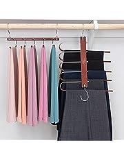 MORALVE Pants Hangers Space Saving - 2 Pack Wood Scarf Hangers for Closet Organizer - Jean Hangers Scarf Holder Closet Space Saving Hangers - Pants Rack Leggings Hanger Space Saver Closet Organization