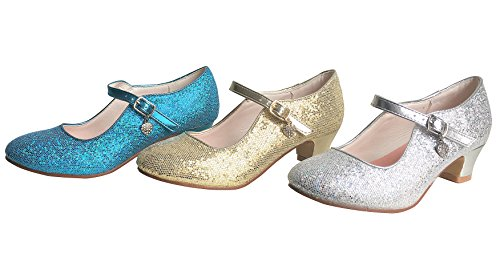La Senorita Elsa Frozen Prinzessinnen Schuhe blau mit kleines Herzchen Spanische Flamenco Schuhe