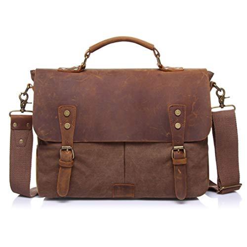 Inlefen laptop Vintage heren bruin schoudertas grote Messenger AaBArqOH