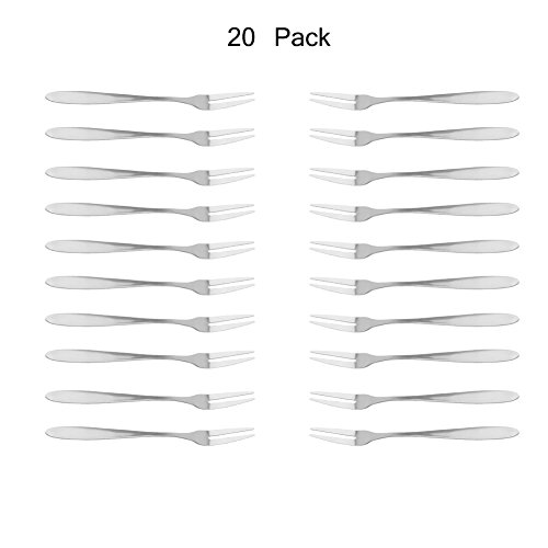 Looching Set of 20 Hand Forged Stainless steel Fruit/Vegetable Fork Great Fits For Oyster, Mussel,Escargot, Mussel And Dessert Cake (Stainless Escargot Steel)