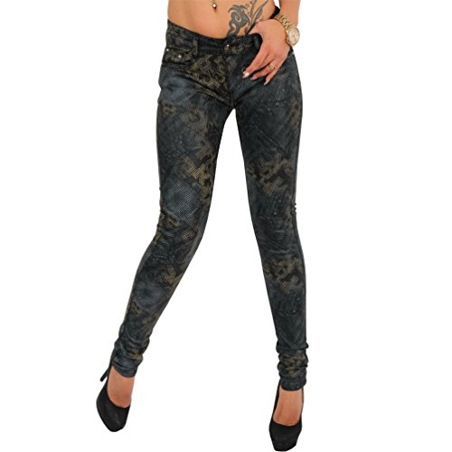 Damen Jeans Hose Nieten Gold Schlange Hüfthose Röhrenjeans Snake Strech Schwarz