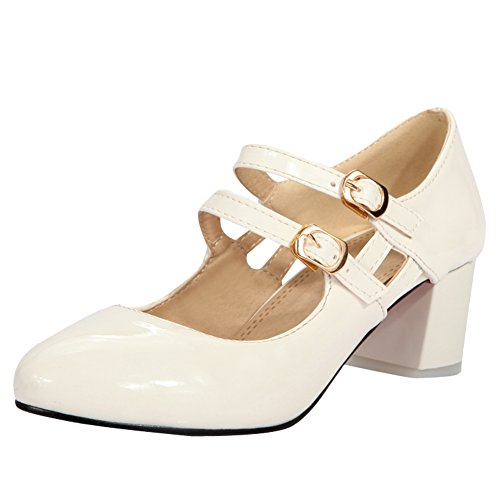 Buckles Mary Latasa White Latasa Heels Chunky Pumps Womens Womens Janes qwanxT1v