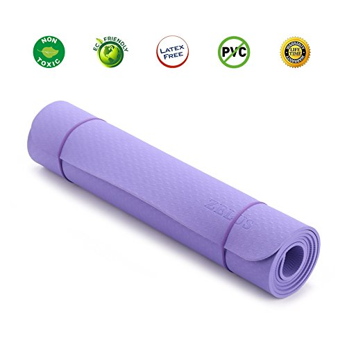 """Cheap ZELUS TPE Material Yoga Mat 72"""" x 24"""" 1/4"""" Thickness, Eco Friendly Textured Non Slip Surface and Optimal Cushioning (Violet)"""