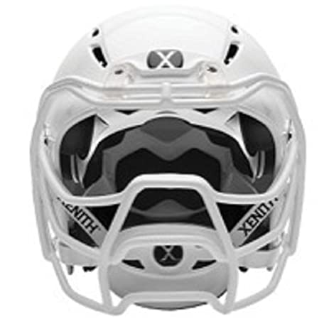 New 2017 Xenith Epic+ Varsity Helmet, White with upgraded White Prowl Facemask, Medium