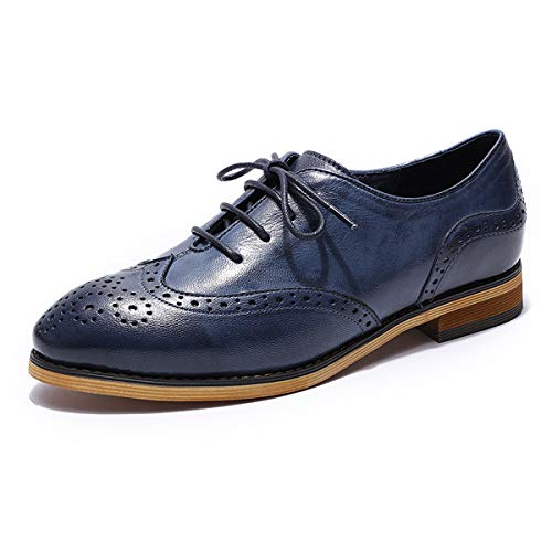 MIKCON Womens Leather Oxfords Vintage Wingtips Brogues Flats lace-up Saddle Oxfords Shoes for Women ladis Girls Blue