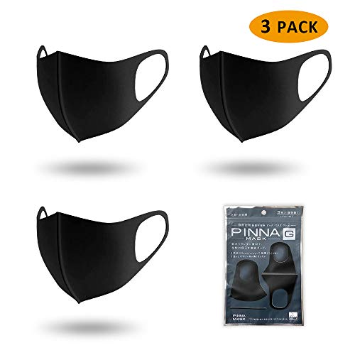3 Pack Washable Reusable Black Face Masks,Unisex Mouth Mask Protection from Dust, Pollen, Pet Dander, Other Airborne Irritants