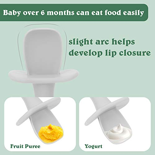 Baby Spoons - First Stage Toddler Utensils - Baby Led Weaning Spoons - Food Grade Soft Silicone Anti-Choke, Self Feeding Set (Grey & Grey)