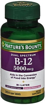 Nature's Bounty Dual Spectrum B-12 5000 mcg Bi-Layer - 30 Tablets, Pack of 4