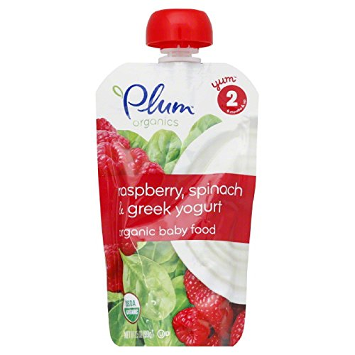 Plum Organics Second Blends, Raspberry, Spinach and Greek Yogurt, 4-Ounce (Pack of 6)