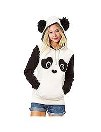 Partiss Women Casual Animal Panda Striped Coat Hooded Pullover Sweatershirt