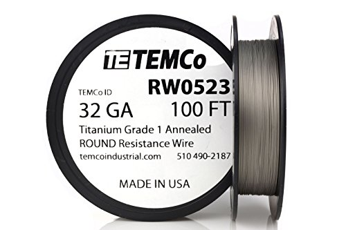 TEMCo Titanium Wire 32 Gauge 100 FT Surgical Grade 1 Resistance AWG ga (Best Titanium Wire For Vaping)
