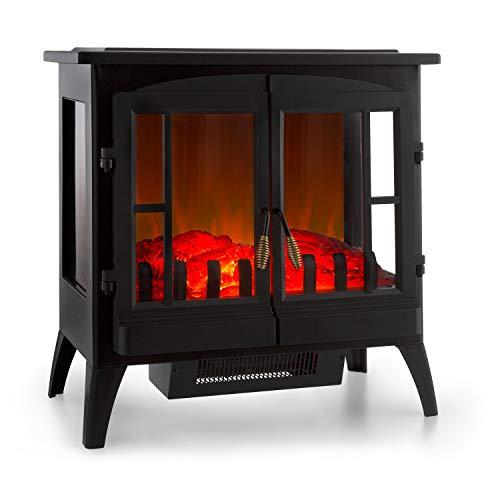 41kPyw7EqkL. SS500 PARECE DE VERDAD: La chimenea eléctrica Innsbruck de Klarstein maravilla con llamas simuladas en cualquier habitación. La luz tenue logra muy bien el efecto llameante del fuego con la leña ardiente y crea un ambiente romántico por toda la habitación. FUNCIÓN CALEFACTORA: Las llamas se mueven independientemente de la función calefactora incluso en noches de verano. Para tener un calor cómodo puedes activar su efecto calactor con una potencia de 1000 o 2000 W para calentar salas de hasta 30 m². FÁCIL DE USAR: El manejo de la chimenea eléctrica se realiza directamente en el aparato: Los interruptores están debajo de las puertas del horno. A través de un regulador, puedes modificar la temperatura e intensidad de los efectos llameantes.