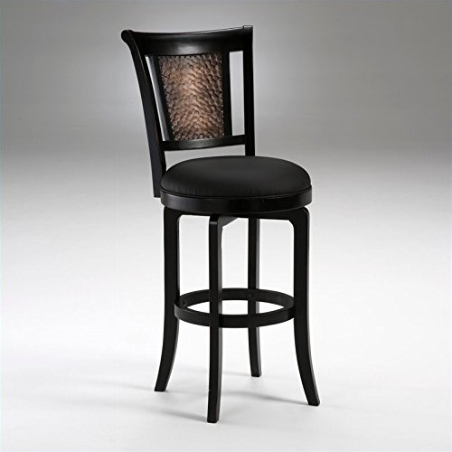 Hillsdale Furniture 4887-826S Cecily Swivel Bar Stool, Black Wood