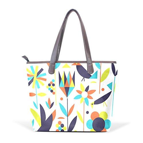 COOSUN Pájaros y flores grandes mango de cuero Bolsa de hombro bolsa de asas de mano de PU L (33x45x13) cm Multicolor # 003