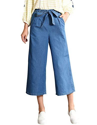 Gihuo Women's Elastic Waist Denim Wide Leg Cropped Drawstring Culottes Pants (Style2 Blue, - Denim Drawstring Pants