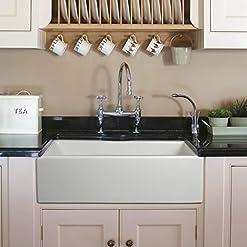 Farmhouse Kitchen ZUHNE 33-Inch Fireclay White Farmhouse Sink, Reversible Farm Sink Apron, Italian farmhouse kitchen sinks