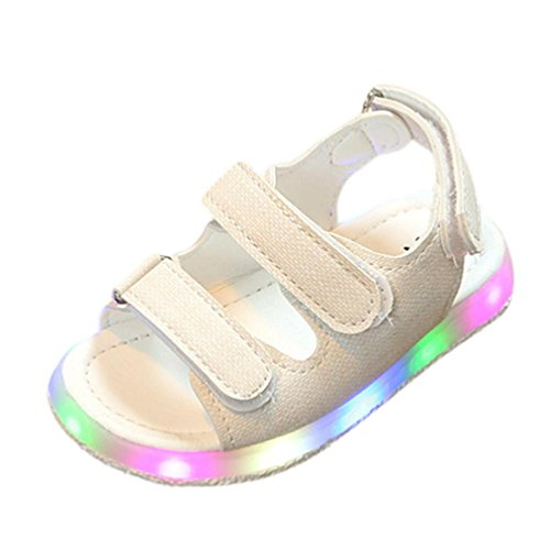 Hot Sale!Summer Sandals 2018,Todaies Toddler Kids Sport Summer Girls Baby Sandals Boys LED Luminous Shoes Sneakers (US:6.5, White) (Today Sale)