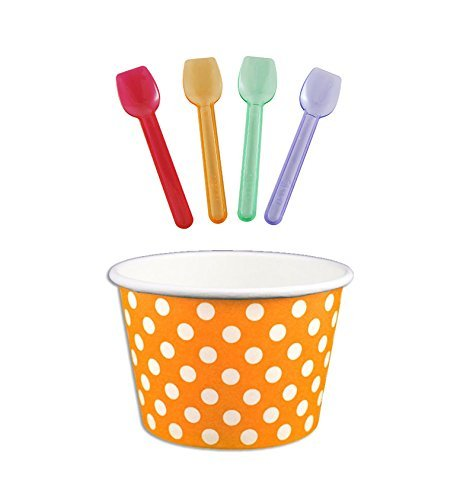 Orange Cream Cat - Black Cat Avenue Paper Ice Cream Cups with Spoons Combo, Polka Dot, Orange, 6 Ounce, 50 Pack