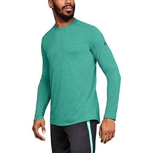 Under Armour Men's Threadborne Long sleeve, Green Malachite (349)/Charcoal, -