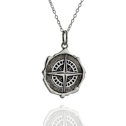 FashionJunkie4Life Sterling Silver Compass Wax Seal Pendant Necklace, 18