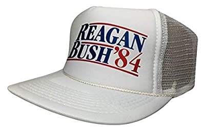 New Ronald Reagan George Bush 84 Trucker Hat Funny Campaign Cap Vintage