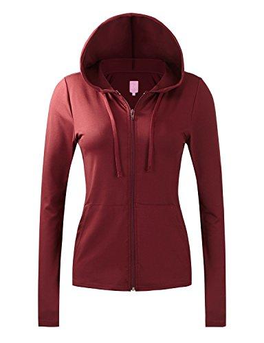 REGNA X NO BOTHER Women's lightweight performance full zip up hoodie jacket, 17101_wine, XX-Large
