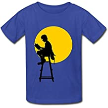 DASY Unisex O Neck Read Under The Moon T Shirt Large RoyalBlue 6-16 Years Old
