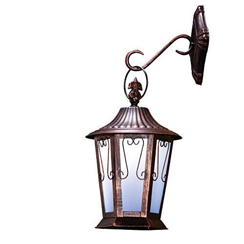 Collections Etc Solar LED Antique Finished Metal Coach Wall Lantern -