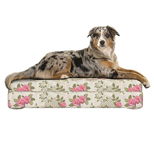 Lunarable Old Newspaper Dog Bed, Floral Composition Torn Paper with Texts Blossoming Pink Rose Bouquets, Dog Pillow with High Resilience Visco Foam for Pets, 32