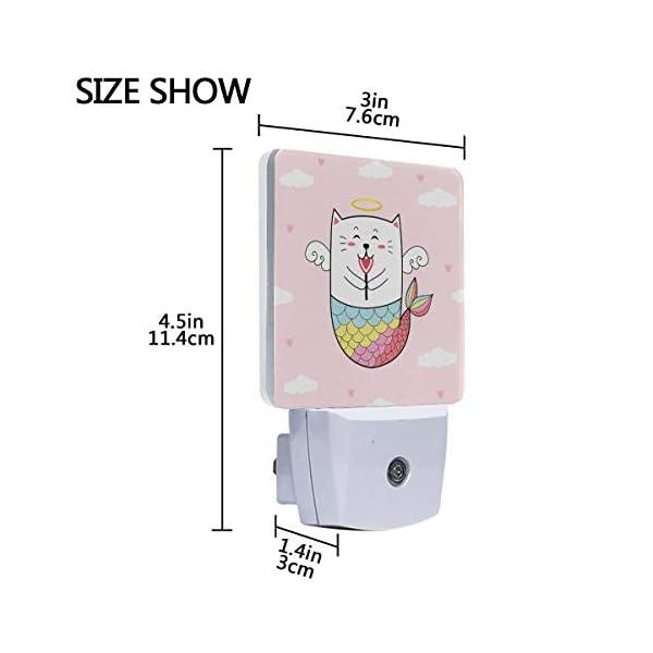 MNSRUU 2 PC Plug-in LED Night Light Lamp Cupid Cat Mermaid Love Heart Animal Pink Printing with Dusk to Dawn Sensor for Bedroom, Bathroom, Hallway, Stairways, 0.5W